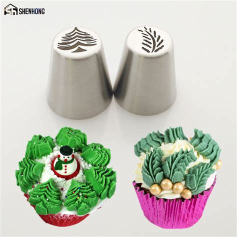 piping russian icing decorating cake christmas pastry tools cupcake nozzle bakeware leaf special tree baking 2pcs supplies stillgrow dhgate