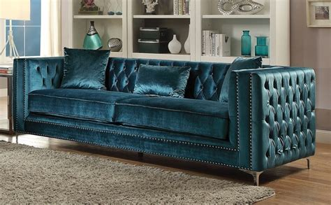 Teal Tufted Sofa by Aegean Contemporary Teal Tufted Velvet Sofa With