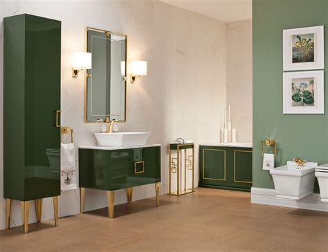 daphne bathroom high  vanity wood  forest green lacquer