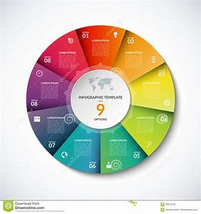 Vector Infographic Circle Template With 9 Options Stock