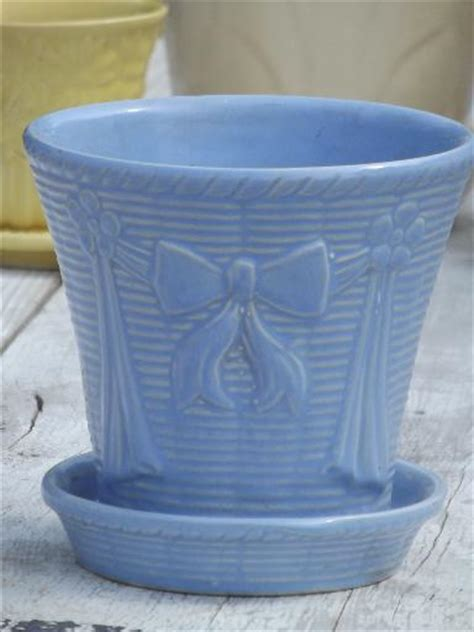 lot vintage flower pots  blue yellow  white mccoy