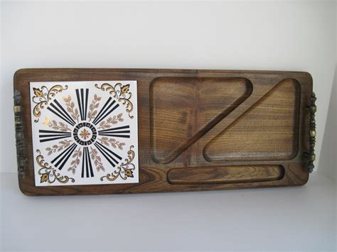 vintage cheese serving tray wood and ceramic tile