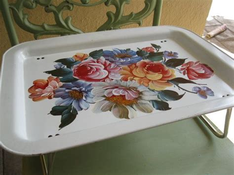 Vintage Metal Tole Tray Breakfast In Bed Tray By