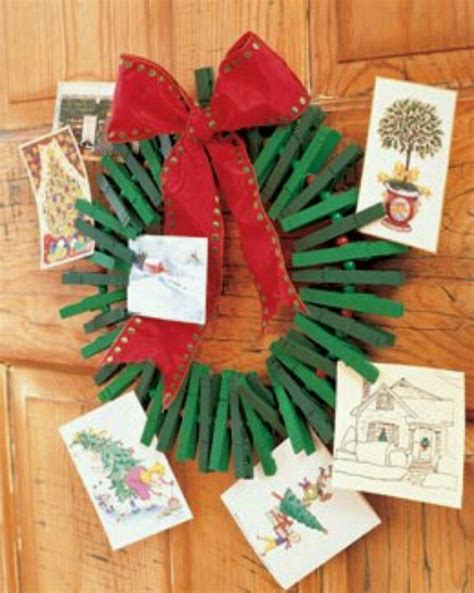 clothespin wreath to hold xmas cards j 243 lin the