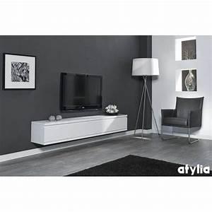 Meuble Tv Suspendu Blanc : meuble tv design suspendu flow blanc mat atylia prix meuble tv mural atylia desing ~ Teatrodelosmanantiales.com Idées de Décoration