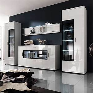 Moderne Wohnwände Weiss Hochglanz : wohnwand in hochglanz wei glas 4 teilig wohnzimmerschrank schrankwand wohnwand anbauwand ~ Sanjose-hotels-ca.com Haus und Dekorationen