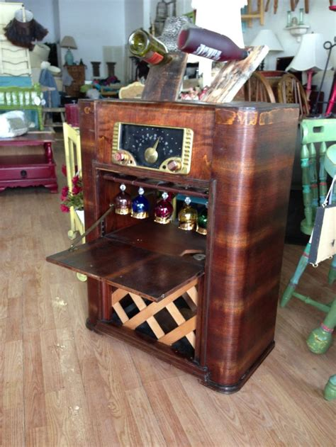 vintage stereo cabinet repurposed wine bar recreated from an antique stereo cabinet