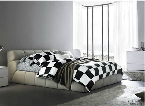 full queen 100 cotton fitted sheet 3d black white plaid