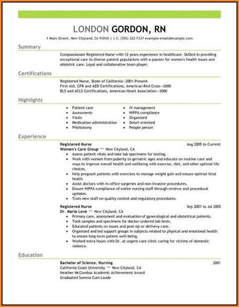 new grad nurse resume template resume resume exles