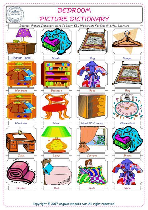 bedroom esl printable english vocabulary worksheets