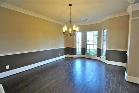 elegant formal dining room  upgrade  tone interior paint crown molding chair railing