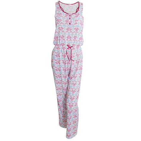 Damen Jumpsuit  Schlafanzug mit Herzmuster, ärmellos eBay