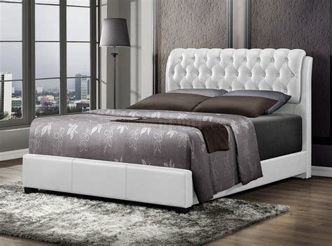 upholstered bed  white leatherette