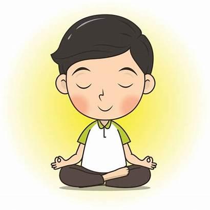Calm Cartoon Boy Yoga Meditate Clip Pose