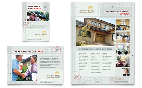 property pamphlet real estate agent realtor flyer ad template design