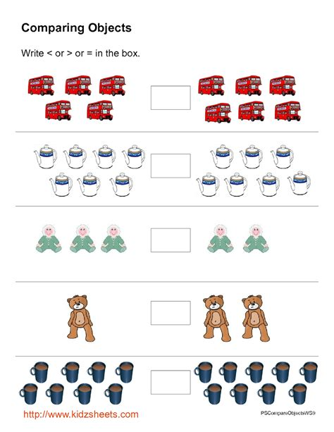 kidz worksheets preschool object comparison worksheet9
