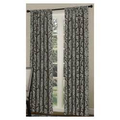 shop allen roth bristol 84 in l blue chocolate rod pocket curtain panel at lowes