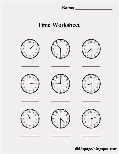 printable time worksheet  kids worksheets