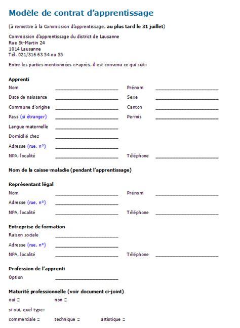 contrat d apprentissage cuisine contrat d apprentissage modèle à télécharger