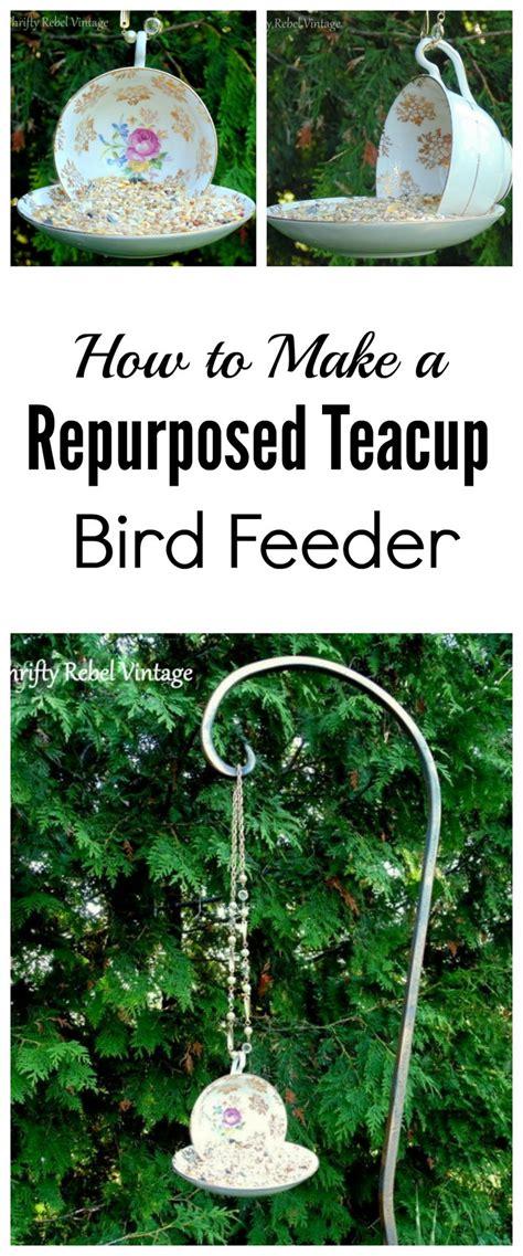 how to make a hanging l how to make a hanging teacup bird feeder thrifty rebel