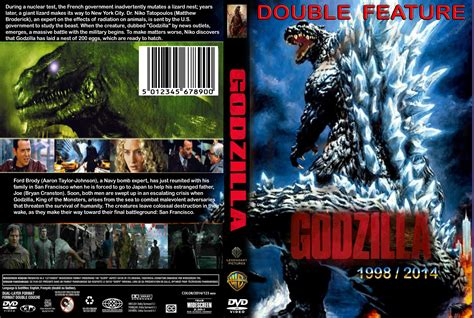 godzilla 1998 cover godzilla double feature dvd cover 1998 2014 r1 custom