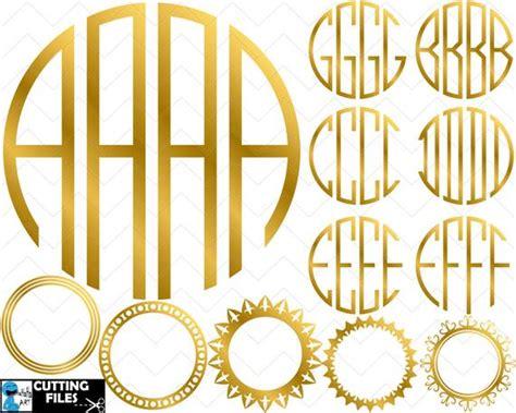 gold circle monogram alphabet  letters clipart cutting