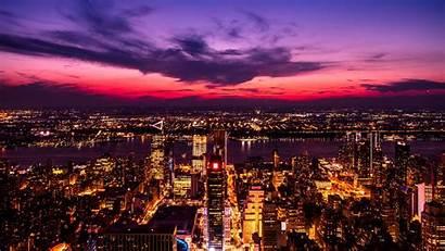 Night Lights Purple Metropolis 4k Background Sky