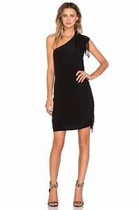 ikks robe one shoulder dress in black lyst With robe noire ikks