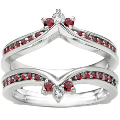 0 38ct and ruby ring guard enhancer in 10k white gold g h i2 to i3 ebay