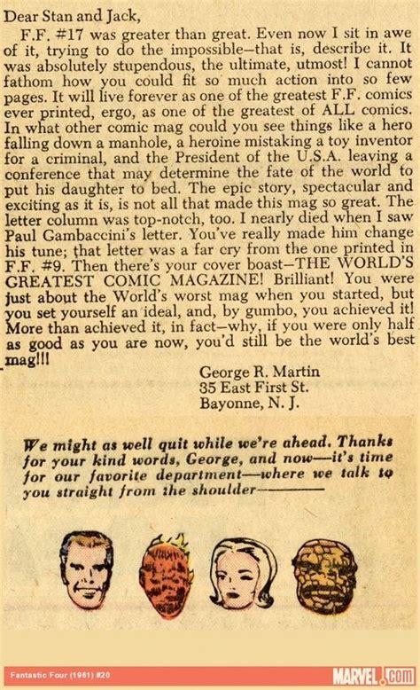 read  george rr martin marvel comics letter