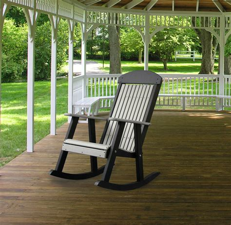 Porch Rocking Chair Plans by Poly Furniture Wood Porch Rocker Dove Gray Black