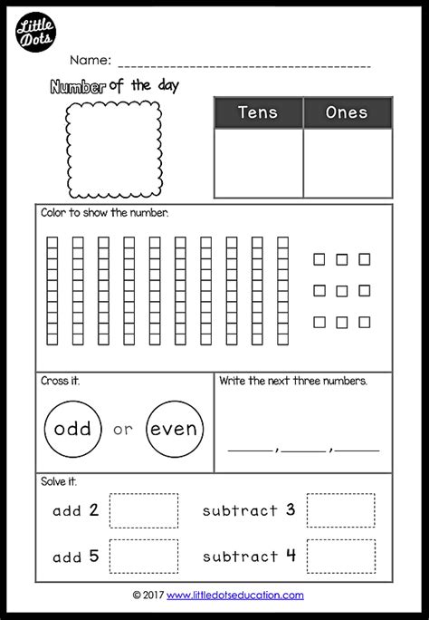 here is a set of free number of the day printables and