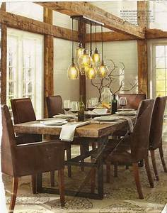 Pottery barn dining room with rustic glass pendant lights lighting