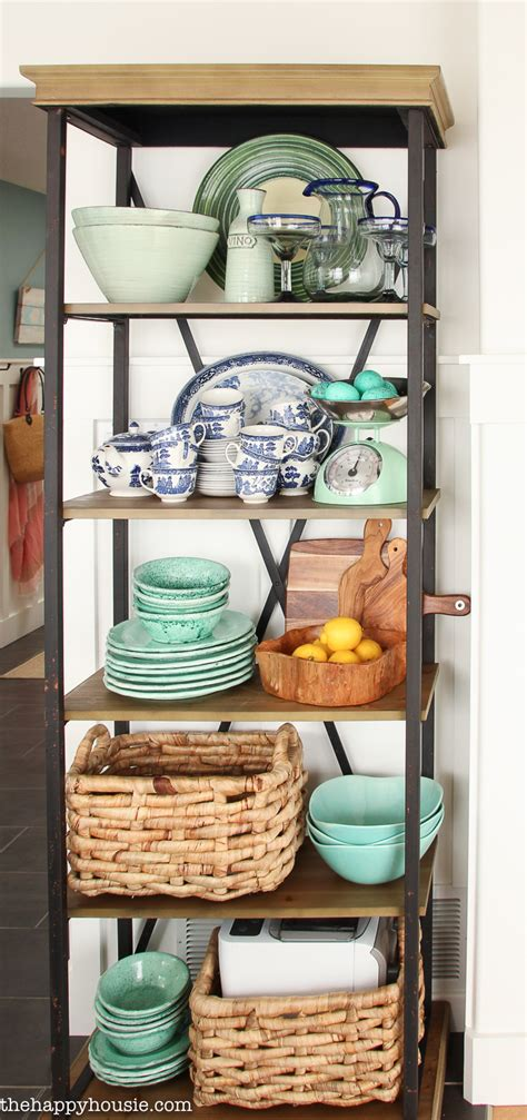 using an etagere shelf for kitchen storage display
