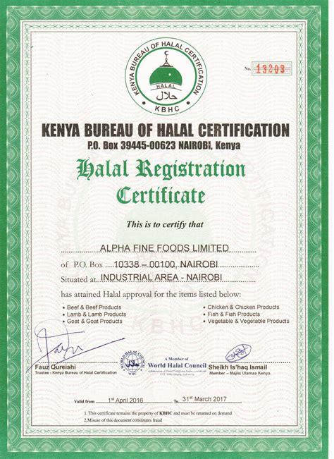 bureau certification kenya bureau of halal certification alpha foods