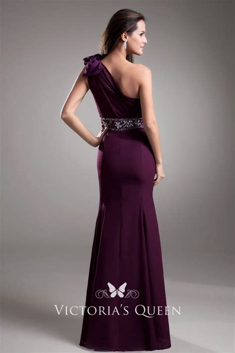 elegant mermaid purple chiffon  shoulder empire evening