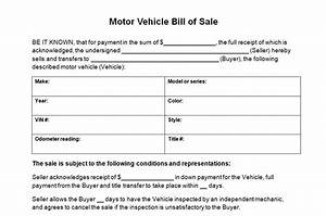 motor vehicle bill of sale template With vehicle bill of sale as is template