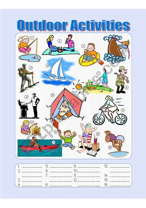 outdoor activities picture dictionary fill   blanks