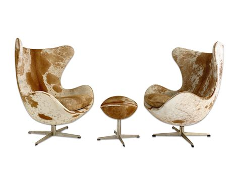 Cowhide Egg Chair by Egg Chairs In Cowhide Pair Forsyth