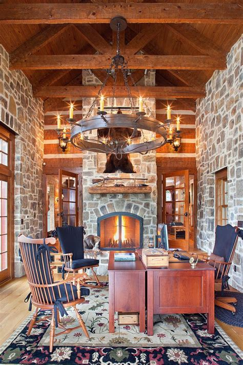 charming home office designs   stone wall