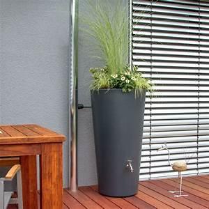 Regentonne Mit Deckel : regentonne rainbowl flower 150 l anthrazit ~ Articles-book.com Haus und Dekorationen