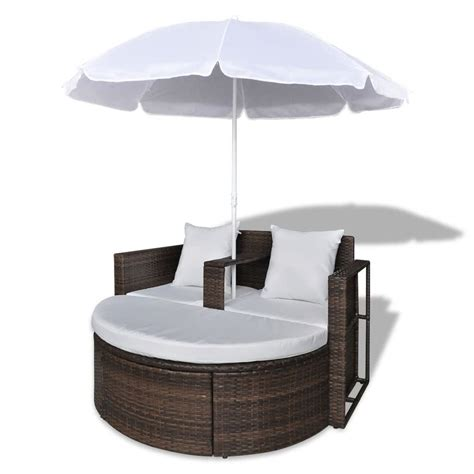 polyrattan lounge set günstig brown garden poly rattan lounge set with parasol outdoor vidaxl