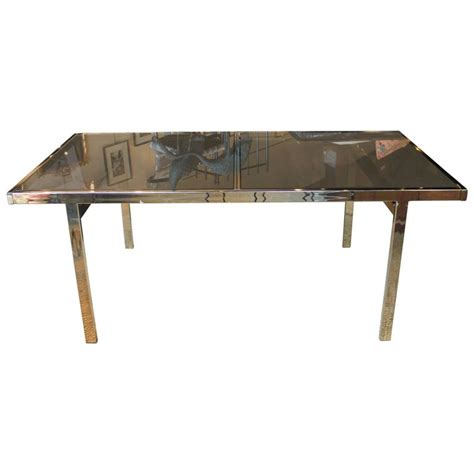 mid century glass dining table mid century modern milo baughman brass and glass dining