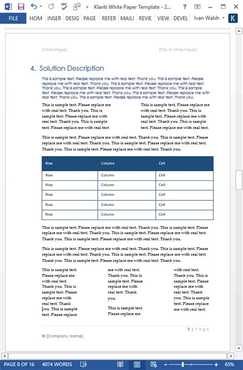 White Paper Template White Papers Ms Word Templates Free Tutorials