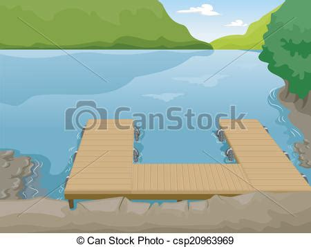 Boat On Lake Clipart by Lake Boat Dock Illustration Of A Boat Dock Near A Lake