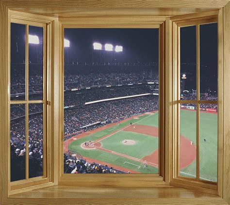 window mural view   baseball stadium faux window