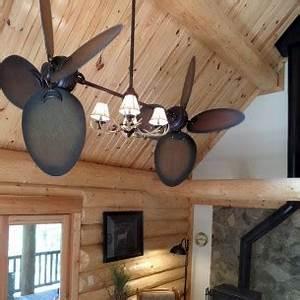 Rustic Outdoor Ceiling Fan With Light Rustic Twin Star Iii Dual Ceiling Fan Antler Lighting