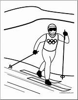 Coloring Skiing Cross Country Winter Olympic Olympics Skier Abcteach Sport Preview sketch template