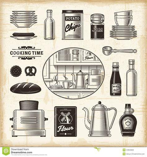 ensemble de cuisine rétro ensemble de cuisine illustration de vecteur image