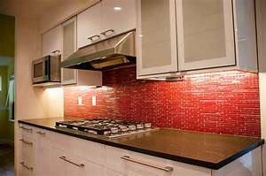 Modern false red brick backsplash kitchen design with for Kitchen colors with white cabinets with set of three metal wall art